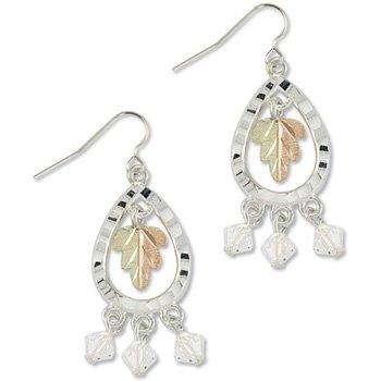 Black Hills Gold With Clear Swarovski Crystal Sterling Silver Earrings