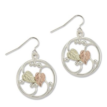 Black Hills Gold On Sterling Silver Circle Earrings