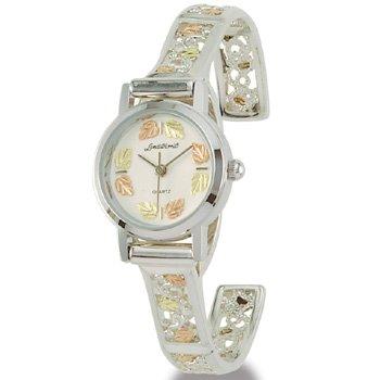 Black Hills Gold 26 Leaf Sterling Silver Ladies Cuff Watch