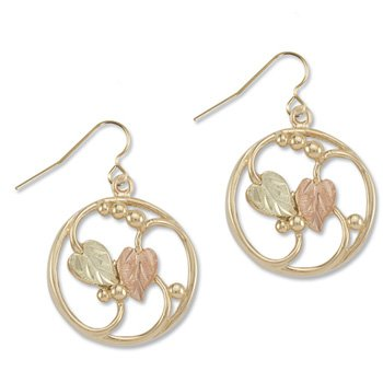 Black Hills Gold On 10K Yellow Gold Circle Earrings