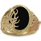 Black Hills Gold Black Onyx Elk Design Men's Ring