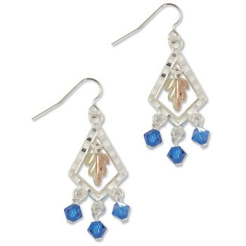 Black Hills Gold With Blue Swarovski Crystals Sterling Silver Earrings