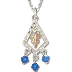Black Hills Gold With Blue Swarovski Crystals Sterling Silver Necklace
