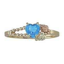Black Hills Gold Ring Ladies Genuine Blue Topaz Heart