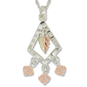 Black Hills Gold With Peach Swarovski Crystal Sterling Silver Necklace