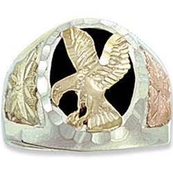 Black Hills Gold Onyx Open Wings Eagle Mens Sterling Silver Ring