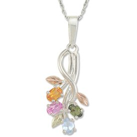 Black Hills Gold Rainbow Stones Sterling Silver Vines Necklace
