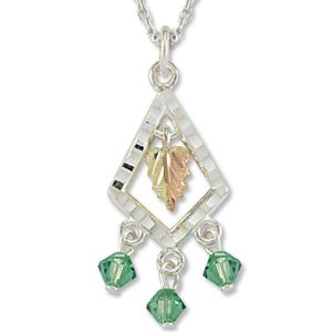 Black Hills Gold With Green Swarovski Crystals Sterling Silver Necklace