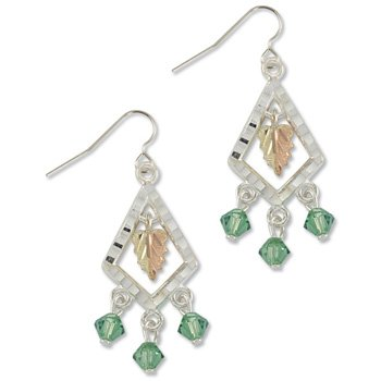 Black Hills Gold With Green Swarovski Crystals Sterling Silver Earrings