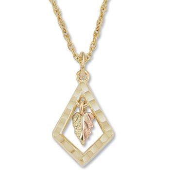 Black Hills Gold Leaf & Quadrangle Pendant Necklace