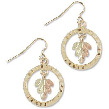 Black Hills Gold Leaf & Circle Hook Earrings