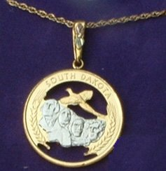 Black Hills Gold South Dakota State Quarter Necklace