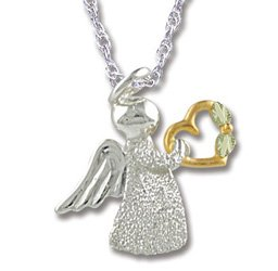 Black Hills Gold Silver Angel & Gold Heart Necklace