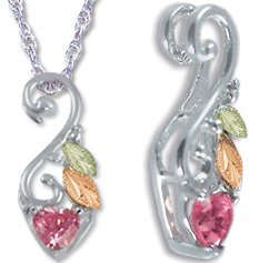Black Hills Gold Pink Cubic Zirconia Heart On Silver Necklace