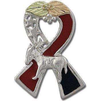 Black Hills Gold Democratic Ribbon Silver Tie Tack Pin Lapel Pin