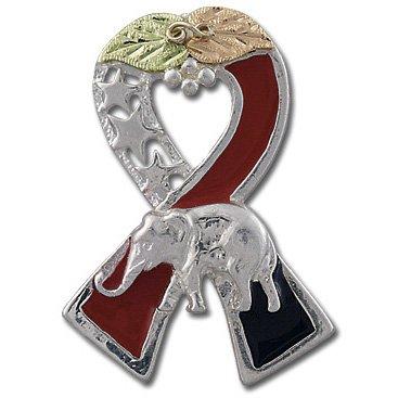 Black Hills Gold Republican Ribbon Silver Tie Tack Pin Lapel Pin