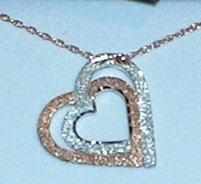 Black Hills Gold Rose Gold & Sterling Silver Heart Necklace