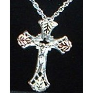 Black Hills Gold Necklace On Sterling Silver Crucifix