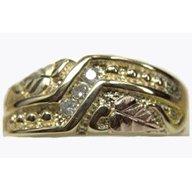 Black Hills Gold Ring Mens Diamond Wedding Band .09