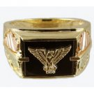 Black Hills Gold Ring Mens Onyx & Diamond Eagle