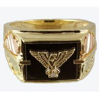 Black Hills Gold Ring Mens Onyx & Diamond Eagle