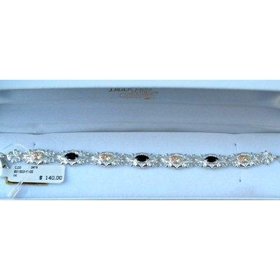Black Hills Gold Bracelet Black Onyx Sterling Silver Link