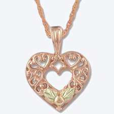 Black Hills Gold Pink Gold Heart Necklace