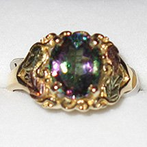 Black Hills Gold Mystic Fire Topaz 10 X 8 mm Ladies Ring