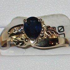 Black Hills Gold Diamonds & Pear Shaped Sapphire Ladies Ring
