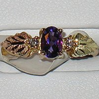Black Hills Gold Amethyst & Diamonds Ladies Ring
