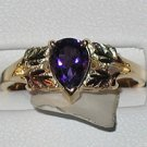 Black Hills Gold Genuine Pear Shaped Amethyst Ladies Ring