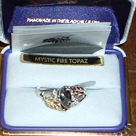 Black Hills Gold Mystic Fire Topaz Sterling Silver Ladies Ring