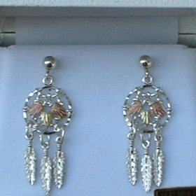 Black Hills Gold Earrings Sterling Silver Dream Catcher Post