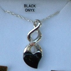 Black Hills Gold Necklace Heart Shaped Black Onyx Sterling Silver