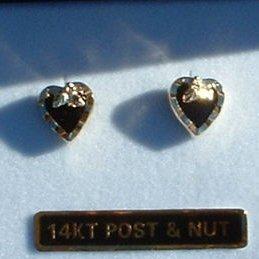 Black Hills Gold Black Onyx Heart Post Earrings