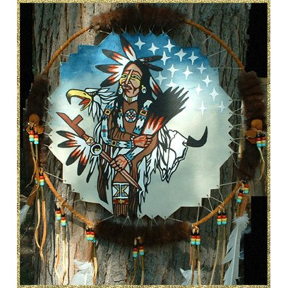 Native American Dance Shield With Mink By Puggy Hawk