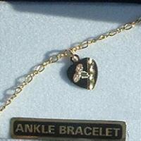 "Black Hills Gold Black Heart Chain 10"" Anklet"