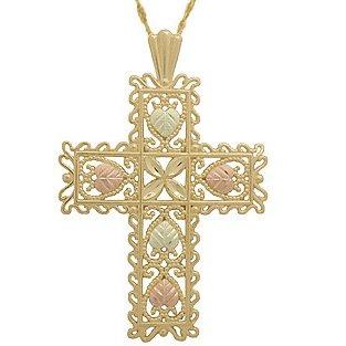 Black Hills Gold Necklace Ornate Cross