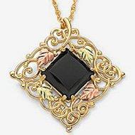 Black Hills Gold Necklace Black Onyx Square Gold Filigree