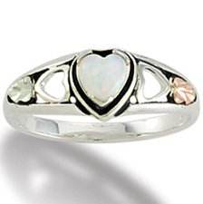 Black Hills Gold Lab Created Opal Heart Sterling Silver Ring