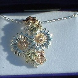 Black Hills Gold On Sterling Silver Sunflower Necklace