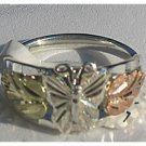 Black Hills Gold On Sterling Silver Butterfly Ladies Ring