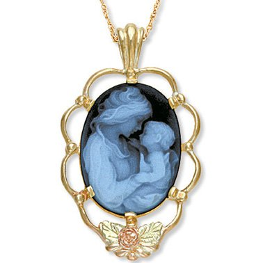 Black Hills Gold Mother's Love Blue Agate Cameo Necklace