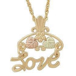 Black Hills Gold Pendant Necklace Leaves LOVE