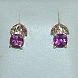 Black Hills Gold Lab Created Purple Sapphire Cushion Cut Earrings
