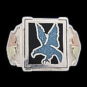 Black Hills Gold Ring Mens Turquoise Eagle Sterling Silver