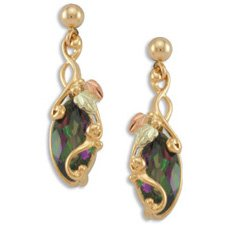 Black Hills Gold Mystic Fire Topaz Fancy Post Earrings