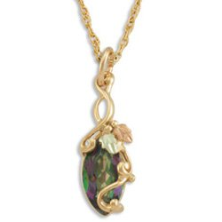 Black Hills Gold Mystic Fire Topaz Marquise Necklace