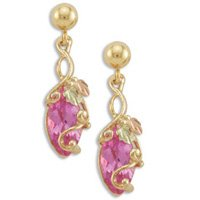 Black Hills Gold Synthetic Rose Zirconia Marquise Earrings