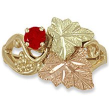 Black Hills Gold Genuine Red Ruby Ladies Ring